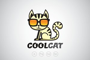 Cool Cat with Glass Logo Template
