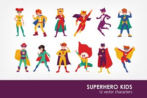 Kids superheroes character set