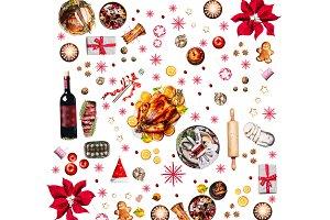 Christmas dinner foods on white