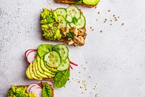 Avocado toast with different topping