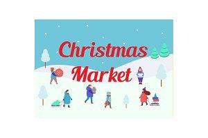 Christmas market. Winter people