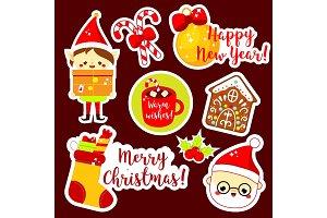 Cute kawaii Christmas stickers