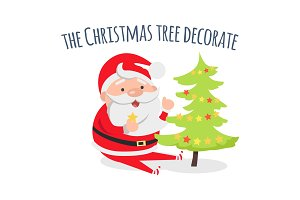 Santa Claus Decorate Xmas Tree
