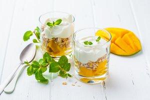 Greek yogurt mango granola parfait