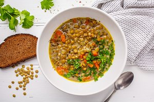 Homemade vegan lentil soup