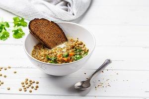 Homemade vegan lentil soup