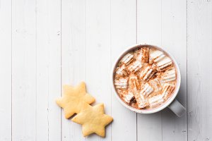 Christmas composition. Hot chocolate