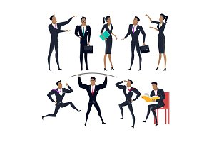 Set of Business People Characters in