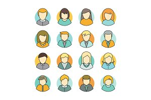 Set of People Characters Avatars in