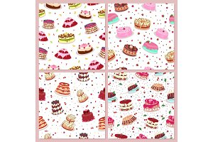Seamless Patterns Set with Cakes