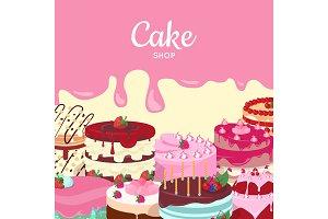 Cake Shop. Set of Decorated Cakes