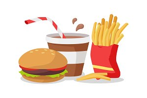 Hamburger, Fries in Red Bag, Soda or