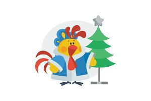 Rooster in Christmas Suit Cartoon