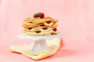 Pancake cake with raspberries
