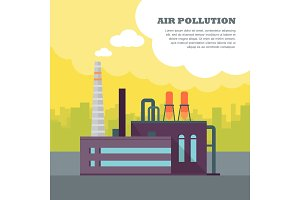 Air Pollution Banner. Factory with