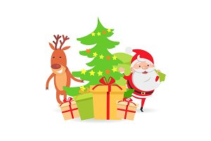 Santa Claus and Deer near Decorated