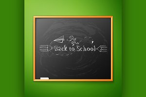 Back to school,written on blackboard