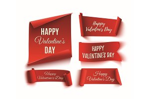 Set of five red, Happy Valentines