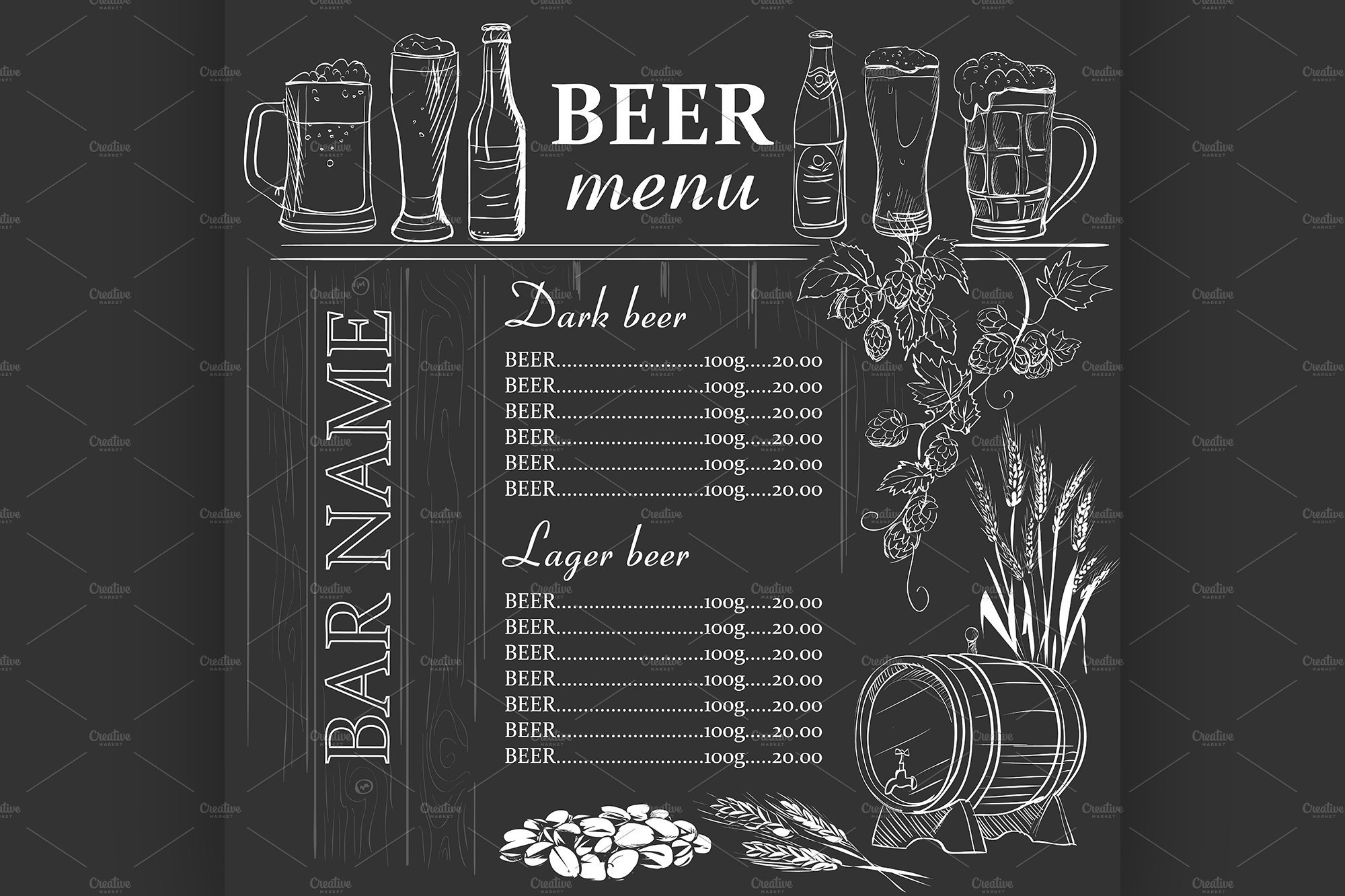 Beer menu hand drawn on chalkboard Illustrations Creative Market – Beer Menu