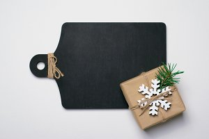Black Wooden Board with Christmas Pr