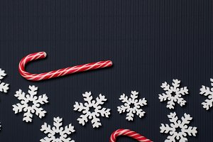 Candy Canes and Wooden Snowflakes on