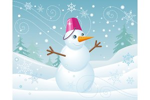 Snowman in Pink Bucket on Christmas