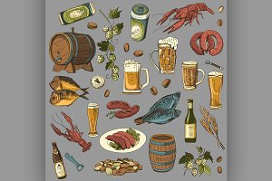 colored beer hand drawing set