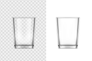 Realistic glass cup. Transparent