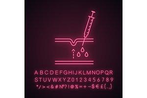 Neurotoxin injection neon light icon