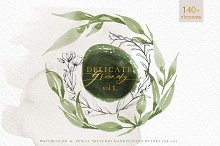 Watercolor + Pencil Greenery vol.1 by  in Illustrations