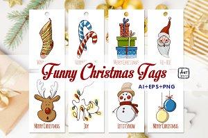 Funny Christmas tags, AI, EPS, PNG