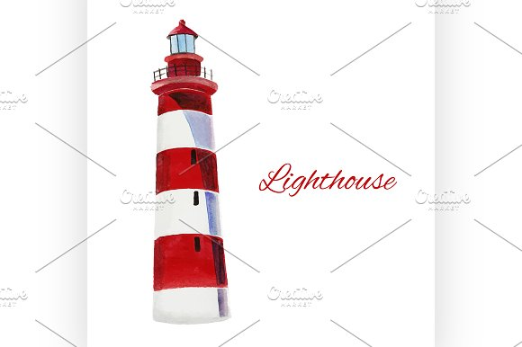 lighthouse. watercolor painting - Illustrations