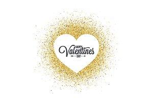 Valentines day heart on golden.
