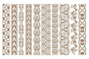 Indian Henna Seamless Borders