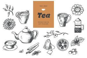 Tea collection elements in graphic