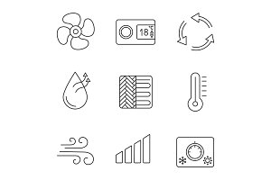 Air conditioning linear icons set