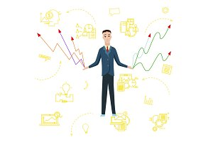 Businessman with charts. Vector flat