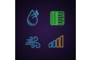 Air conditioning neon light icons