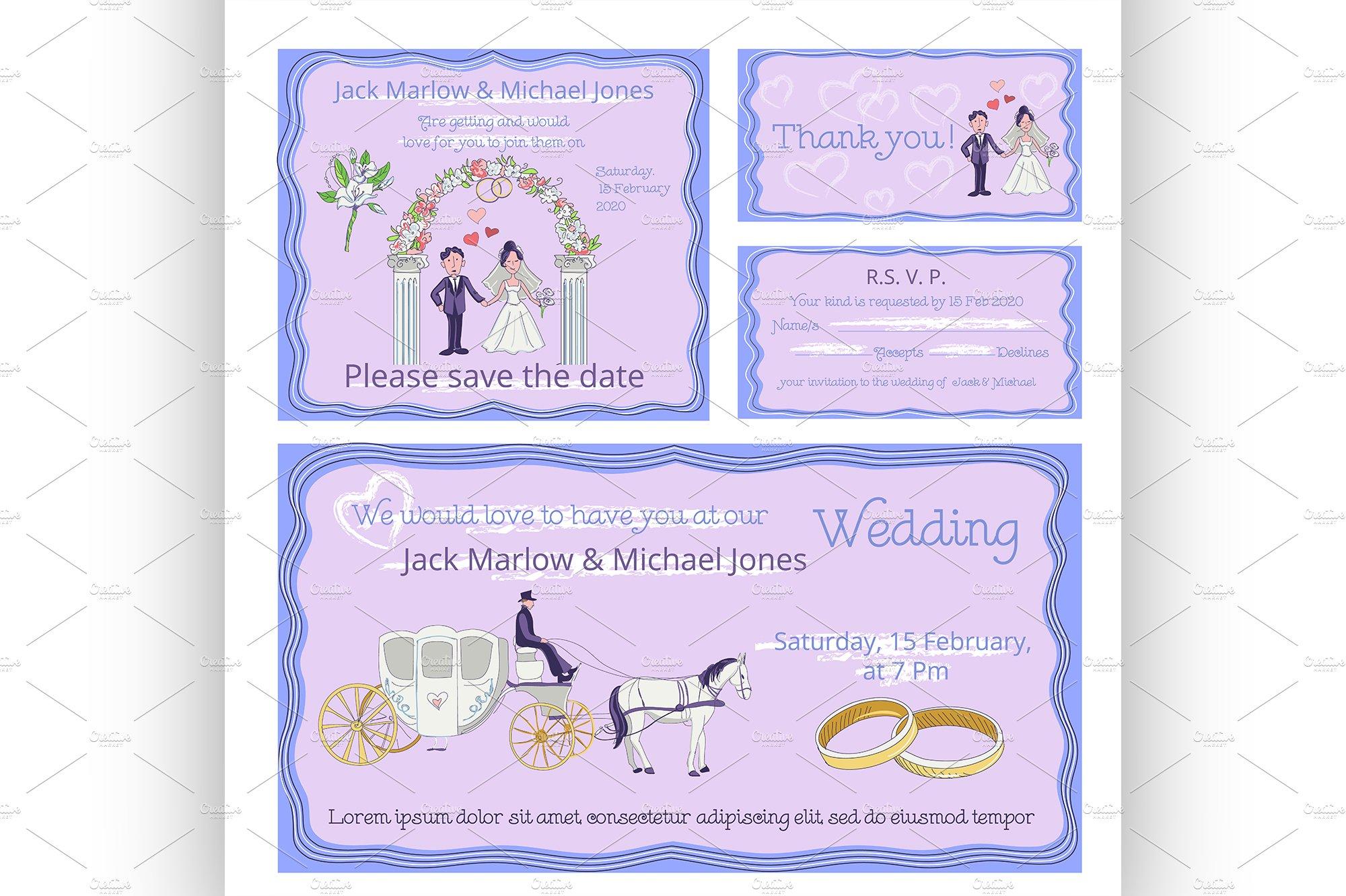 wedding invitation thank you card flyer templates creative market. Black Bedroom Furniture Sets. Home Design Ideas