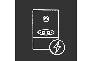 Electric heating boiler chalk icon
