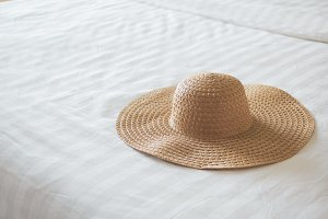 Vacation concept, Woman's weave hat