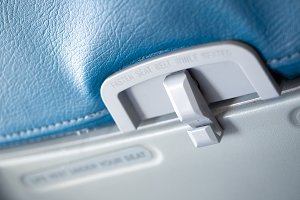 Close up passenger food tray in airp