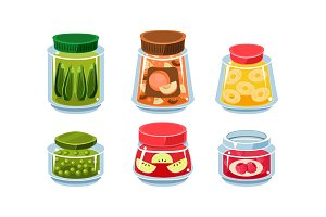 Glass jars with preserved food
