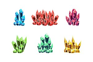 Colorful bright crystals set