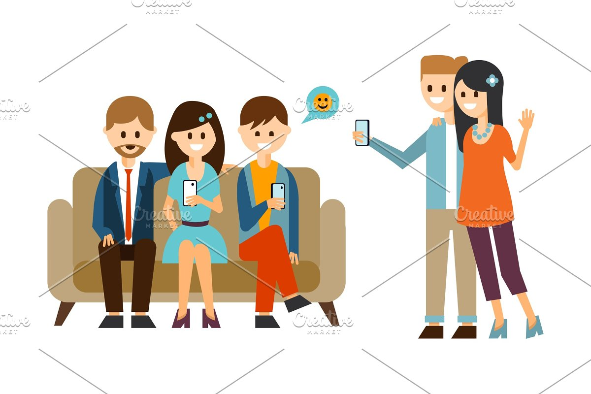 Group Of Young People Sitting On Illustrations Creative Market