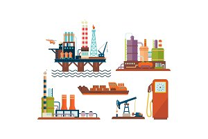 Flat vector set of oil and gas