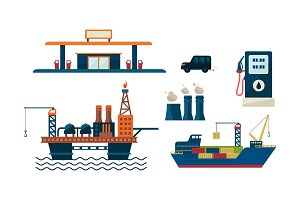 Oil industry business concept. Flat