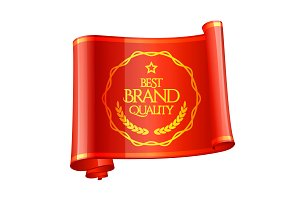 Curved red ribbon Brand Quality Mark