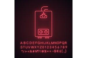 Gas water heater neon light icon
