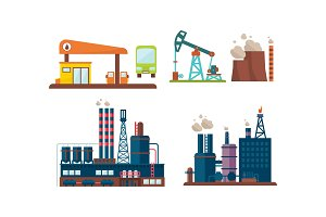 Flat vector set of oil industry